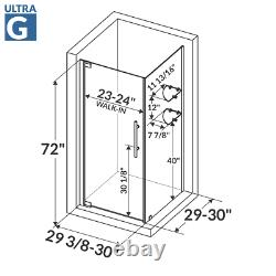 29 3/8-30W x 72H x 29-30D Shower Enclosure ULTRA-G Brushed Nickel by LessCare