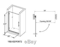 30W x 72H Glass Shower Door Hinged Frameless with Brushed Nickel Finish