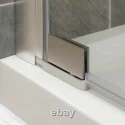 34-35Wx72H Pivot Shower Door ULTRA-G Brushed Nickel by LessCare