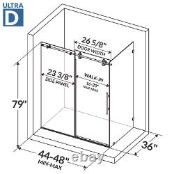 44-48W x 79H x 36D Shower Enclosure ULTRA-D Brushed Nickel by LessCare
