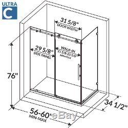 56-60W x 76H x 34 1/2D Shower Enclosure ULTRA-C Brushed Nickel by LessCare
