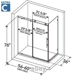 56-60W x 76H x 36D Shower Enclosure ULTRA-C Brushed Nickel by LessCare