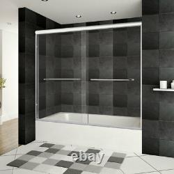56-60Wx62H Bathtub Door ULTRA-A Brushed Nickel by LessCare