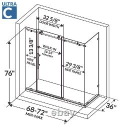 68-72W x 76H x 36D Shower Enclosure ULTRA-C Brushed Nickel by LessCare