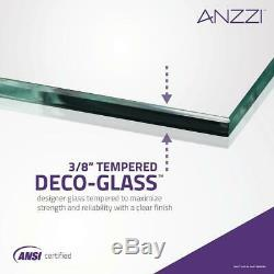 ANZZI Frameless Hinged Tub Door Towel Bar Handle Clear Glass Brushed Nickel