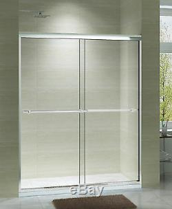 ART OF BATH 56 60 x 75 SEMI FRAME LESS BYPASS CLEAR GLASS SLIDING DOOR WITH BASE