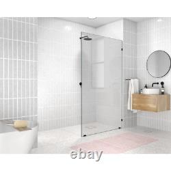 Alcove Shower Door 46 in. X 78 in. Frameless Clear Tempered Glass Matte Black
