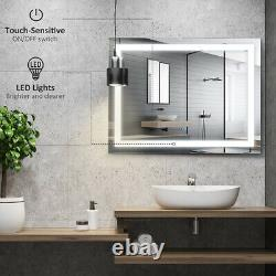 Bathroom LED Mirror Dimmable Touch Sensor Anti-Fog Adjustable Color for Wall