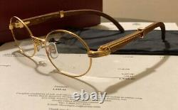 CARTIER Clear Lens with Gold Wood Men's Sunglasses