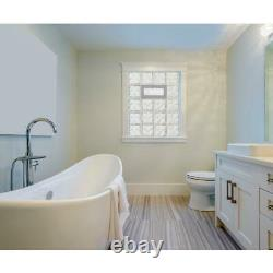 Clearly Secure White Frameless Wave Pattern Vented Glass Block Window