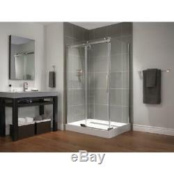 Delta Frameless 1-Piece Direct-to-Stud Corner Shower Glass panels in stainless