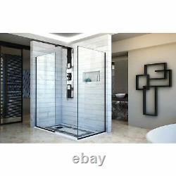 DreamLine SHDR-3230342-09 Linea Two Shower Screens 34 and 30, Open Entry, Black