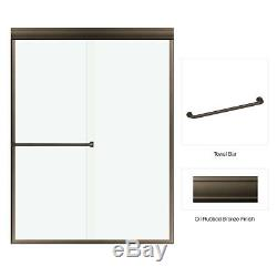 Fab Glass Classic Frameless Bypass Sliding Enclosure Clear Glass Rubbed Bronze