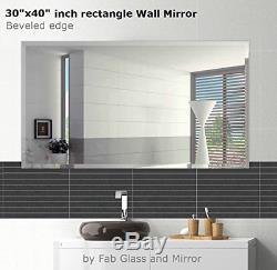 Fab Glass and Mirror Rectangle Frameless Wall Mirror, 30x40 Inch, Clear