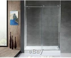Frameless Bathroom Sliding Shower Door 60 in. X 76 in. Clear Glass with Handle