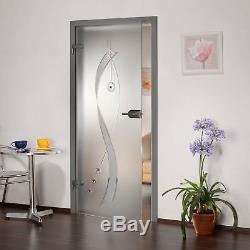 Frameless Interior Glass Door + Frosted-Sandblasted + Clear Lines + Rhinestone