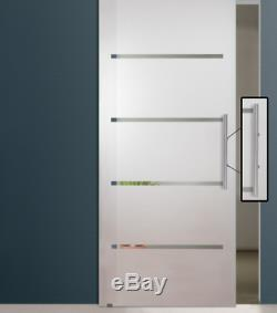 Frameless Partially Transparent Sliding Frosted Glass Barn Door, + Stripes Lines