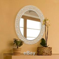 Frameless Vanity Mirror 23 in. X 29 in. Translucent Etched Border Oval White
