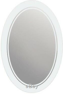 Frosted Oval Mirror Framless Glass Wall Floating Decoration Accent Etched Home