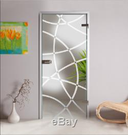 Hinged Frameless Glass Door, Clear Glass with Frosted Curved Lines Design