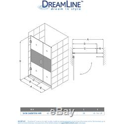 Hinged Shower Door 42 x 72 DreamLine SHDR-244207210 Half Frosted Glass Chrome