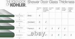 KOHLER K-706000-L-SH Levity Shower Door, Crystal Clear glass with Bright Silver