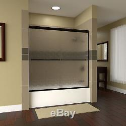 Leter 60x57.38 Bypass Semi-Frameless Tub Door Clear Glass Anodized Oil Rubbed