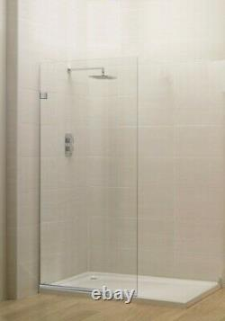 Milan Stationary Panel Shower Screen 24 x 76 Inch Clear Glass, Chrome Finish