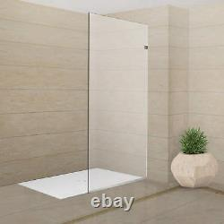 Milan Stationary Panel Shower Screen 30 x 76 Inch Clear Glass, Brushed Nickel