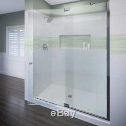 Miseno MSDF4876-CH 76H x 48W Hinged Frameless Shower Door with Clear Glass