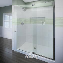 Miseno MSDF4876 Chrome 76H X 48W Hinged Frameless Shower Door With Clear Glass