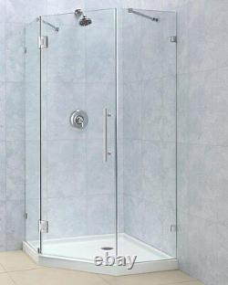 PrismLux Neo Angle Shower Enclosure 36 x 36, 3/8 Glass, Chrome or Brushed Nickel