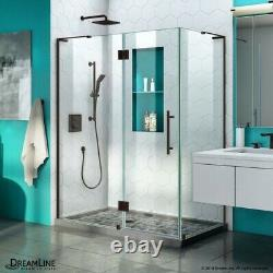 Quatra Plus 34 in. D x 48 in. W x 72 in. H Frameless Hinged Shower Enclosure