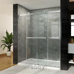 SUNNY SHOWER Frameless Double Sliding Shower Door with 10mm Glass 60 W x 76 H in