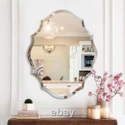 Scalloped Edged Oval Wall Mirror Frameless Wide Beveled Statement Accent Decor