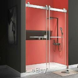 Shell Shower Doors 72x76 Frameless Double Sliding with Clear Tempered Glass