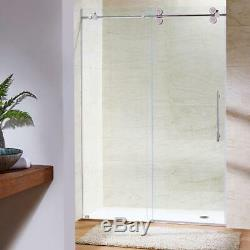 Shower Door 72 in. X 74 in. Frameless Sliding Stainless Steel with Clear Glass