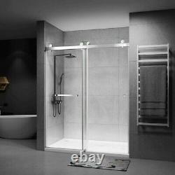 Shower Doors 72x76 Frameless Double Sliding with Clear Tempered Glass