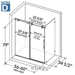 Sliding Shower Door and Enclosure with Stationary Panel 56-60W 79H Ultra D Brush