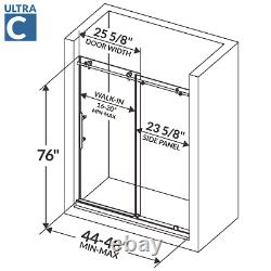 Sliding Shower Door with Stationary Panel 44-48W 76H Ultra C Brushed Nickel
