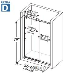 Sliding Shower Door with Stationary Panel 56-60W 79H Ultra D Chrome