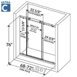 Sliding Shower Door with Two Stationary Panels 68-72W 76H Ultra C Brushed Nickel