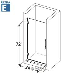 Swing-Out Shower Door 24W 72H Ultra E Brushed Nickel