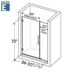 Swing-Out Shower Door with Stationary Panel 36-37W 72H Ultra E Chrome
