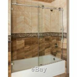 ULTRA-C Brushed Nickel and Glass Sliding Bathtub Door 56-60 Clear