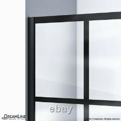 Unidoor Toulon 36 x 48 Frameless Hinged Shower Enclosure in Satin Black