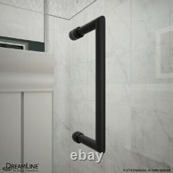 Unidoor Toulon 36 x 60 Frameless Hinged Shower Enclosure in Satin Black