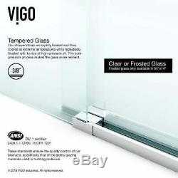 VIGO 72-inch Frameless Sliding Glass Shower Door Stainless Steel 72