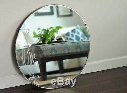 Vintage 27.5 Inch Floral Round Frameless Etched Mirror-Art Deco Large Mirror