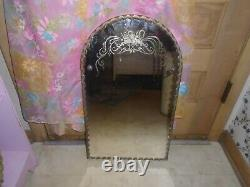 Vintage Scalloped Edge Etched Wall Mirror Frameless MId Century 15 x 25